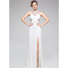 Trumpet/Mermaid High Neck Sweep Train Jersey Evening Dress With Ruffle Beading Split Front