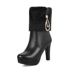 Women's Leatherette Stiletto Heel Pumps Platform Boots Mid-Calf Boots With Buckle shoes