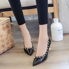 Women's Patent Leather Spool Heel Pumps Closed Toe With Rivet shoes