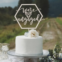 We are Engaged Wood Cake Topper