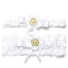 2-Piece Fabulous Satin Lace With Flower Pearl Wedding Garters