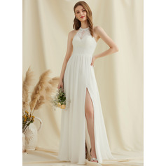 Scoop Neck Floor-Length Chiffon Lace Wedding Dress With Split Front (265253587)