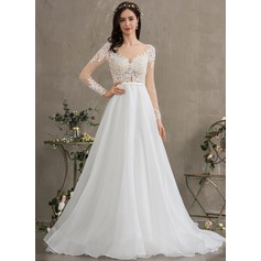 Ball-Gown/Princess Illusion Court Train Organza Wedding Dress