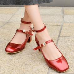 Women's Patent Leather Chunky Heel Pumps Closed Toe With Rhinestone Buckle shoes