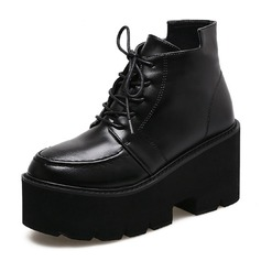 Women's Leatherette Wedge Heel Platform Closed Toe Boots Ankle Boots Mid-Calf Boots With Lace-up shoes