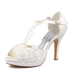 Women's Silk Like Satin Stiletto Heel Peep Toe Pumps With Pearl