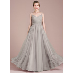 A-Line/Princess Floor-Length Tulle Bridesmaid Dress With Ruffle Beading