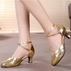 Women's Leatherette Sparkling Glitter Heels Sandals Latin Ballroom With Hollow-out Dance Shoes