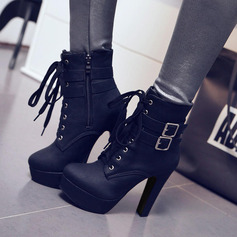 Women's PU Chunky Heel Pumps Platform Boots With Buckle Zipper Lace-up shoes (088137531)