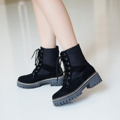 Women's Suede Low Heel Flats Platform Ankle Boots With Lace-up shoes