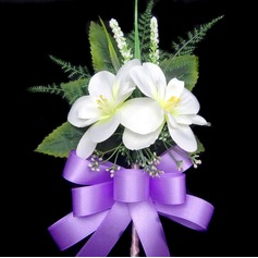 Nice Free-Form Satin/Cotton Boutonniere