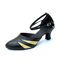 Women's Real Leather Heels Pumps Ballroom With Ankle Strap Dance Shoes