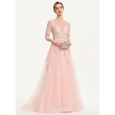 A-Line V-neck Sweep Train Tulle Evening Dress With Beading