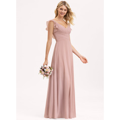 Empire V-neck Floor-Length Chiffon Prom Dresses With Cascading Ruffles (272236487)