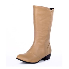 Women's Leatherette Low Heel Closed Toe Boots Mid-Calf Boots shoes
