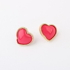 Heart Shaped Alloy Resin Ladies' Fashion Earrings