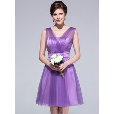 A-Line/Princess V-neck Knee-Length Tulle Bridesmaid Dress With Ruffle