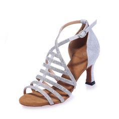 Women's Leatherette Heels Sandals Latin With Rhinestone Dance Shoes