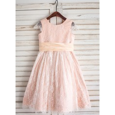 A-Line/Princess Tea-length Flower Girl Dress - Lace Short Sleeves Scoop Neck