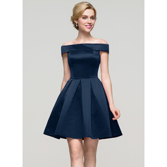 A-Linie/Princess-Linie Off-the-Schulter Kurz/Mini Satin Ballkleid (022089910)