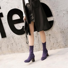 Women's Sparkling Glitter Chunky Heel Closed Toe Boots Mid-Calf Boots Martin Boots shoes