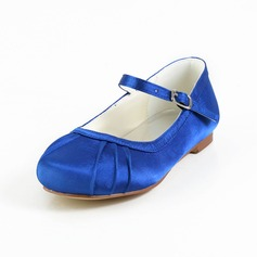 Girl's Satin Flat Heel Closed Toe Flats With Buckle (207095468)