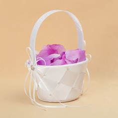 Elegant Flower Basket in Satin With Ribbons (102025560)