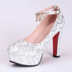 Women's Leatherette Chunky Heel Closed Toe Platform Pumps With Imitation Pearl Sequin (047111884)