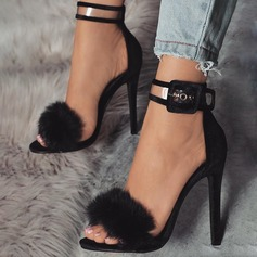 Women's Suede Stiletto Heel Sandals Pumps Peep Toe With Buckle Fur shoes (087151081)
