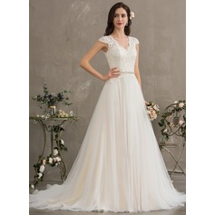 Ball-Gown/Princess V-neck Court Train Tulle Wedding Dress With Beading Sequins