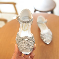 Girl's Peep Toe Leatherette Low Heel Sandals Flower Girl Shoes With Crystal