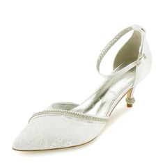 Women's Lace Leatherette Spool Heel Closed Toe Pumps Sandals With Crystal Heel