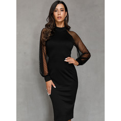 Black Long Sleeves Midi Dresses (293251265)