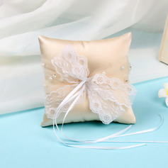 Beautiful Lace/Cloth Ring Pillow With Ribbons