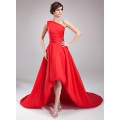 A-Line/Princess One-Shoulder Asymmetrical Taffeta Evening Dress With Ruffle