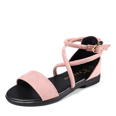Girl's Peep Toe Suede Flat Heel Sandals Flats Flower Girl Shoes With Buckle