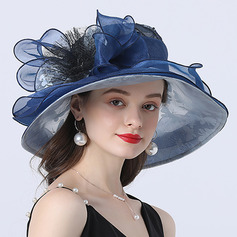 Ladies' Hottest/Romantic Organza With Silk Flower Beach/Sun Hats/Tea Party Hats (196233912)