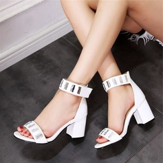 Women's Leatherette Chunky Heel Sandals Peep Toe With Rhinestone shoes