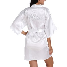 Bride Bridesmaid Satin With Short Satin Robes Rhinestone Robes (248151594)
