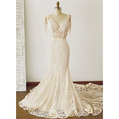 Trumpet/Mermaid V-neck Royal Train Lace Wedding Dress With Ruffle Bow(s)
