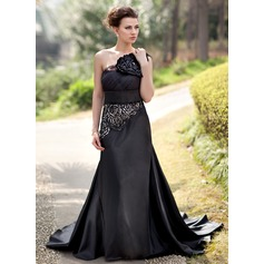 Trumpet/Mermaid One-Shoulder Court Train Charmeuse Evening Dress With Flower(s) Sequins