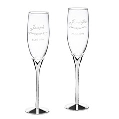 Personalized Heart design Glass/Aluminum Toasting Flutes  (118040924)