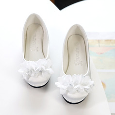 Girl's Round Toe Closed Toe Flats Sneakers & Athletic Flower Girl Shoes With Flower