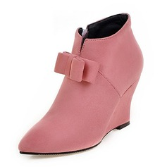 Women's Suede Wedge Heel Pumps Closed Toe Boots Ankle Boots shoes