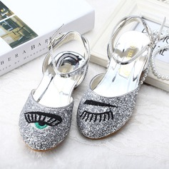 Girl's Sparkling Glitter Flat Heel Round Toe Closed Toe Mary Jane Sandals With Buckle Sparkling Glitter Applique