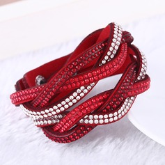 Unique Leatherette With Rhinestone Women's Fashion Bracelets (Sold in a single piece)