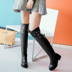 Women's Leatherette Flat Heel Boots Over The Knee Boots With Rivet Buckle Zipper shoes