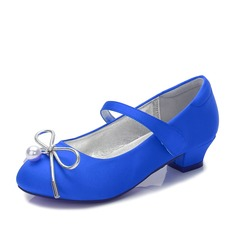 Girl's Round Toe Closed Toe Mary Jane Silk Like Satin Low Heel Flower Girl Shoes With Bowknot Velcro Pearl