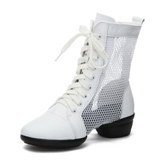 Women's Real Leather Mesh Sneakers Modern Sneakers Ballroom Dance Shoes