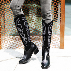 Women's PU Chunky Heel Boots Knee High Boots With Animal Print shoes